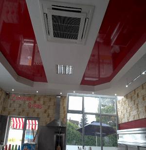 Napínané stropy v prostorách čerpací stanice